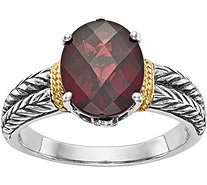 Sterling & 14K Oval Checkerboard-Cut Gemstone Ring - J378236