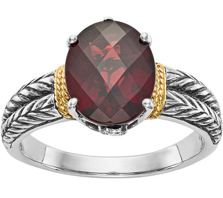 Sterling & 14K Oval Checkerboard-Cut Gemstone Ring