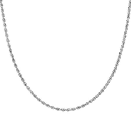 "14K White Gold Diamond Cut 20"" Rope Necklace, 16.5g"