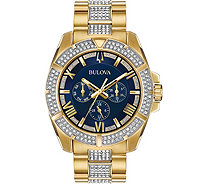Bulova Men's Swarovski Crystal Blue Dial Watch - J378536