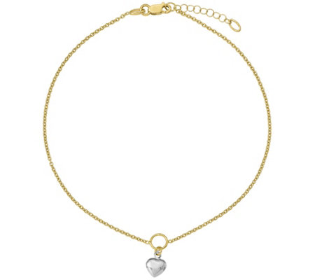 14K Two-Tone Heart Dangle Anklet, 2.1g