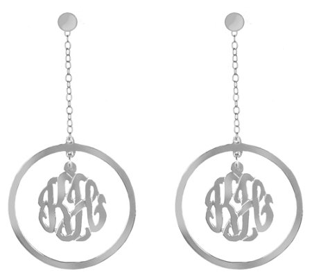 Sterling Silver Drop Monogram Earrings