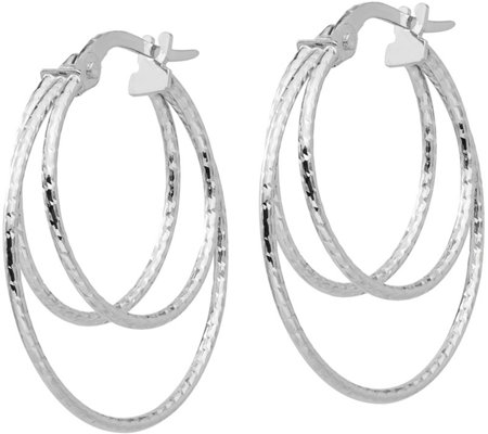 "Italian Gold 1"" Triple Hoop Earrings, 14K"