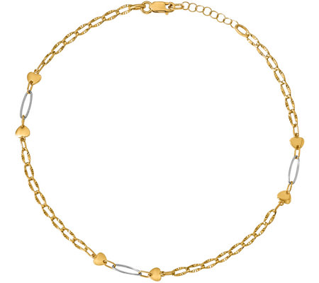 Italian Gold Two-Tone Heart & Oval Link Anklet14K, 2.6g