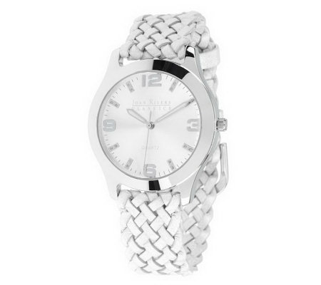 Joan Rivers Woven with Style Leather Strap Watch