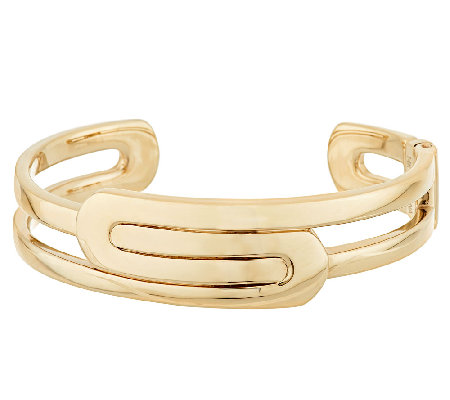 """As Is"" 14K Gold Art Deco Design Small Hinged Cuff"