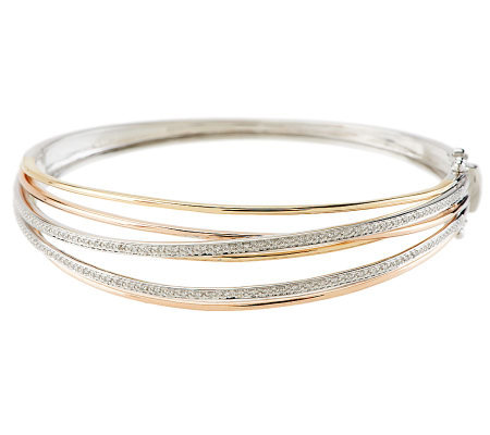 Tri-color Highway Design Bangle with 1/5 cttw Diamond, 14K