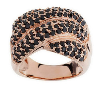 """As Is"" Bronzo Italia Pave' Crystal Cross-over Design Ring - J278637"