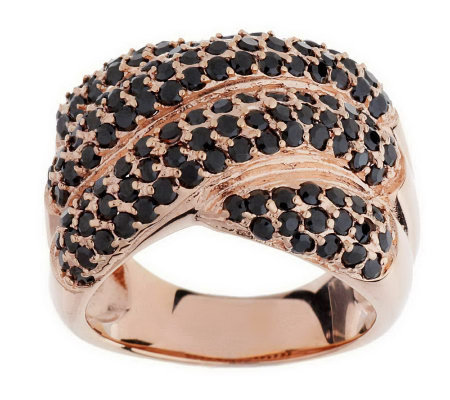 """As Is"" Bronzo Italia Pave' Crystal Cross-over Design Ring"