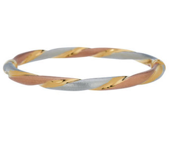 """As Is"" Veronese 18K Clad Large Tri-color Hinged Bangle - J280537"