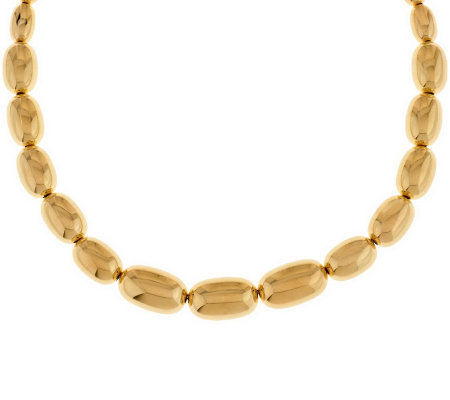 "Oro Nuovo 18"" Graduated Oval Bead Necklace 14K"