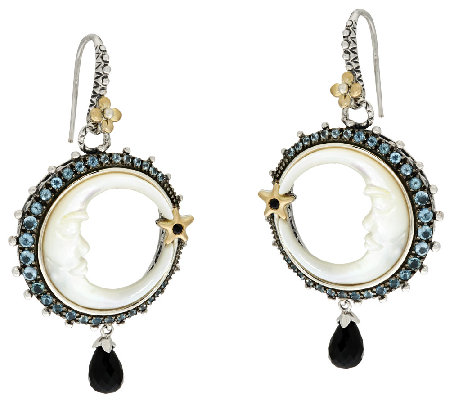 Barbara Bixby Sterling & 18K Crescent Moon Gemstone Earrings