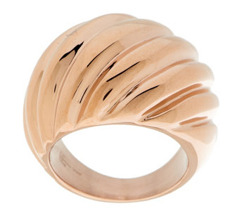 Stainless Steel Polished Ribbed Design Ring - J289737