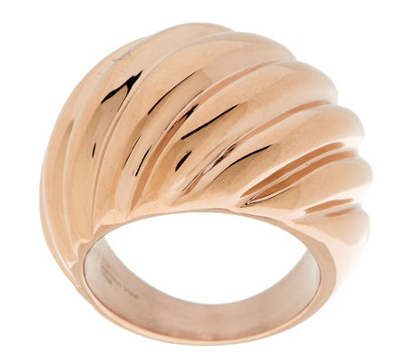 Stainless Steel Polished Ribbed Design Ring