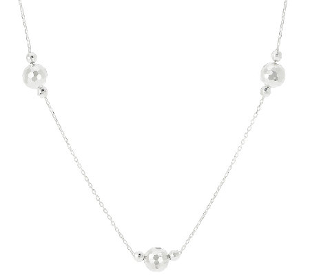 "Sterling 16"" Faceted Bead Station Necklace"