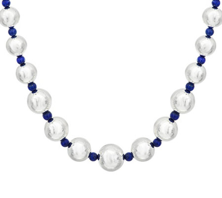 "Argento Nuovo Sterling 18"" Gemstone & Graduated Bead Necklace"
