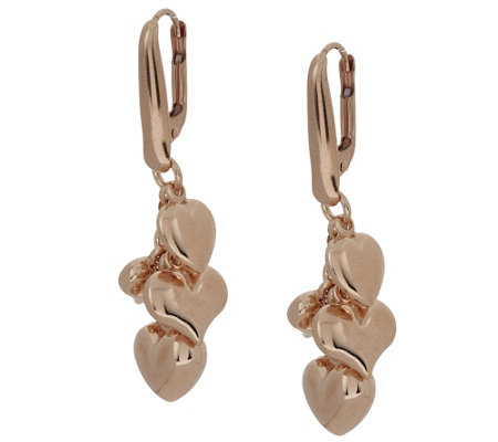 Bronze Heart Charm Dangle Earrings by Bronzo Italia
