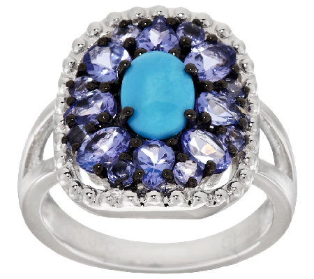 Graziela Gems Sleeping Beauty Turquoise & Tanzanite Sterling Ring