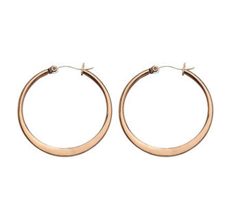 "Stainless Steel Chocolate-plated 1-1/4"" Hoop Earrings - J302237"