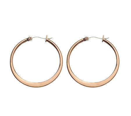 "Stainless Steel Chocolate-plated 1-1/4"" Hoop Earrings"