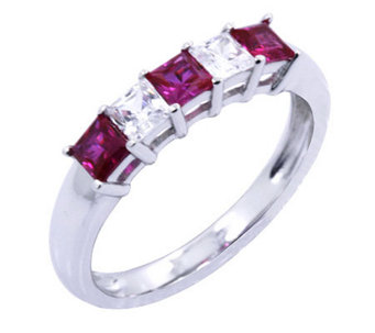 Diamonique & Simulated Ruby Ring, Platinum Clad - J302437