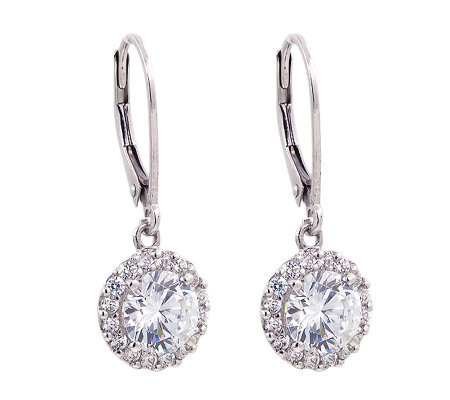 Diamonique 100-Facet 2.50 cttw Halo Earrings, Platinum Clad