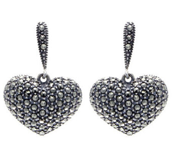 Suspicion Sterling Marcasite Domed Heart Earrings - J304337