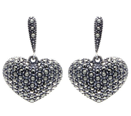 Suspicion Sterling Marcasite Domed Heart Earrings