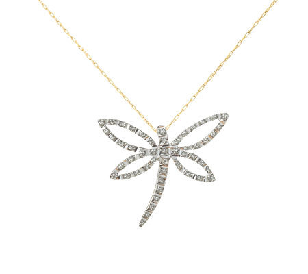 Diamond Fascination Dragonfly Pendant with Chain, 14K Gold