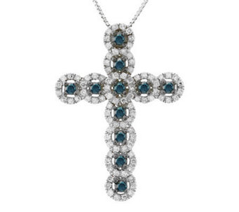Diamond Cross Pendant, Sterling, 3/4 cttw, by Affinity - J305037