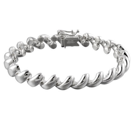 "UltraFine Silver 7-1/4"" Polished San Marco Bracelet 17.30g"