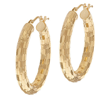 "VicenzaGold 1"" Shimmer Mirror Oval Hoop Earrings, 14K"