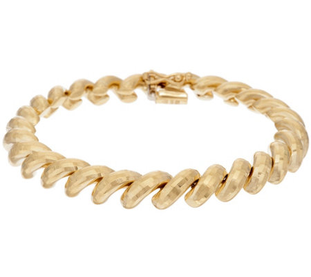 "14K Gold 6-3/4"" Diamond Cut San Marco Bracelet, 9.5g"