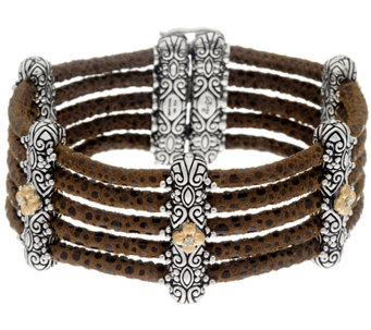 Barbara Bixby Sterling & 18K Multi-Strand Pebble Suede Bracelet - J321437