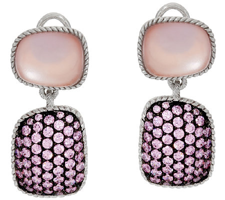 Judith Ripka Sterling Freeform Pink Doublet & Pave' Earrings