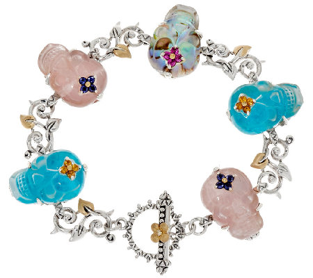 "Barbara Bixby Sterling & 18K Gemstone Skull 7-1/4"" Bracelet"