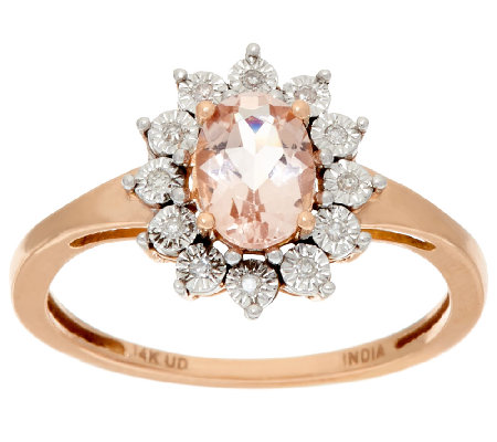 Oval Morganite & Diamond Accent Ring 14K Gold 0.65 ct