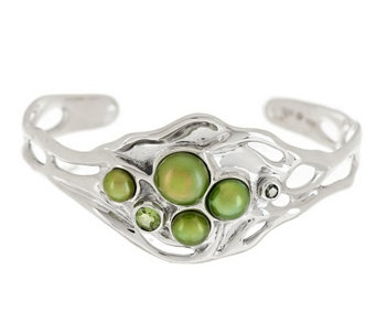 """As Is"" Hagit Sterling Large Cultured Pearl & Gemstone Sculpted Cuff - J326437"