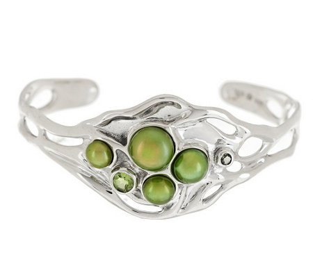 """As Is"" Hagit Sterling Large Cultured Pearl & Gemstone Sculpted Cuff"