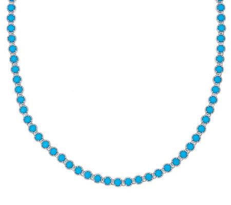 "Sleeping Beauty Turquoise Sterling 20"" Diamond Cut Tennis Necklace"