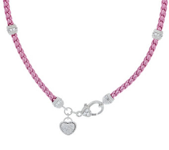 Judith Ripka Sterling Verona Braided Necklace with Heart Charm - J327637