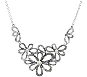 Sterling Silver Cultured Pearl Flower Necklace by Or Paz 26.00g - J328037