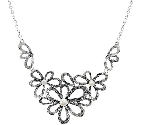 Sterling Silver Cultured Pearl Flower Necklace by Or Paz 26.00g