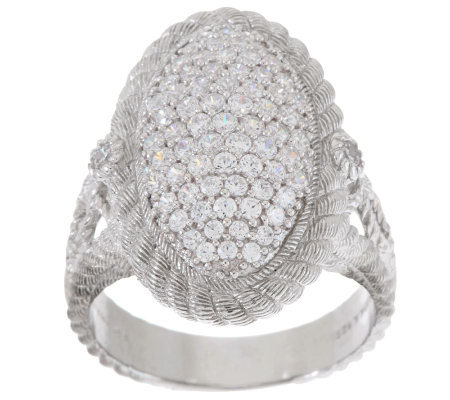 """As Is"" Judith Ripka Sterling 1.30ct Pave Diamonique Oval Cocktail Ring"
