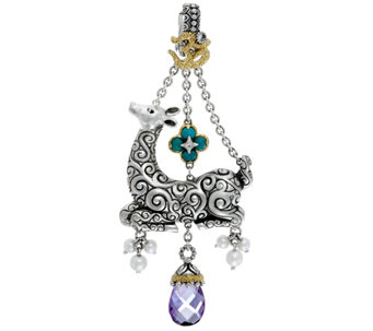 Barbara Bixby Sterling & 18K 2.40 ct Amethyst Drop Deer Enhancer - J329137