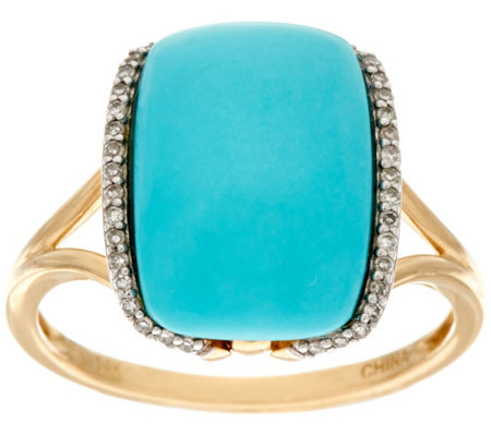 Elongated Cushion Sleeping Beauty Turquoise Ring 14K Gold