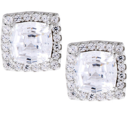 Diamonique Octagon Asscher Cut Halo Studs, Sterling