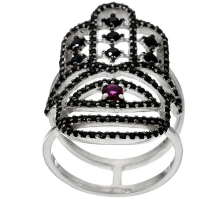 Luv Tia Sterling Ruby & Black Spinel Hamsa Ring
