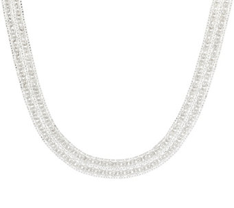 "Sterling Silver 18"" Double Byzantine Necklace, 31.50g - J330537"