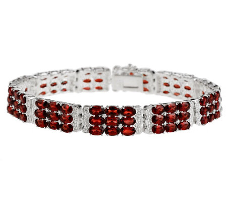 """As Is"" 16.50 cttw Sterling Mozambique Garnet 3-Row 6-1/2"" Bracelet"